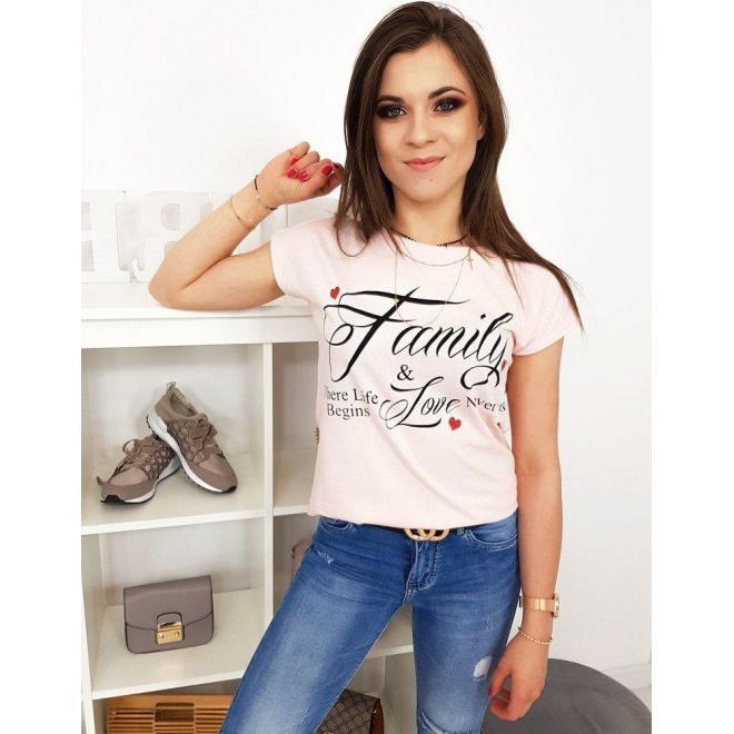 Malinové bavlnené tričko s potlačou pre dámy