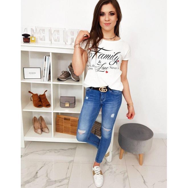 Dámske bavlnené tričko s potlačou v svetlosivej farbe