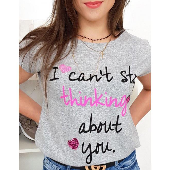 Dámske módne tričko s potlačou v ružovej farbe