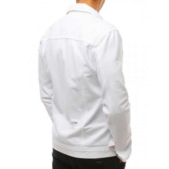 Pánska rifľová bunda s dierami v tmavosivej farbe