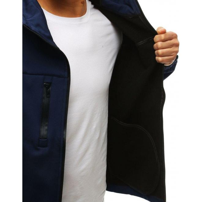 Pánska prechodná Softshell bunda s kapucňou v modrej farbe