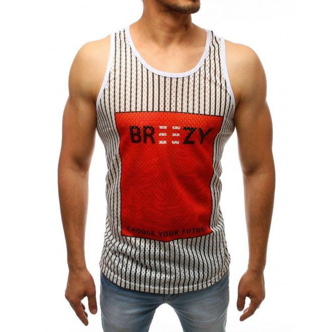 Pánske štýlové tričko s farebnou potlačou v bielej farbe