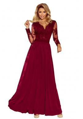 Červené pohodlné šaty s volánmi a viazaním pre dámy