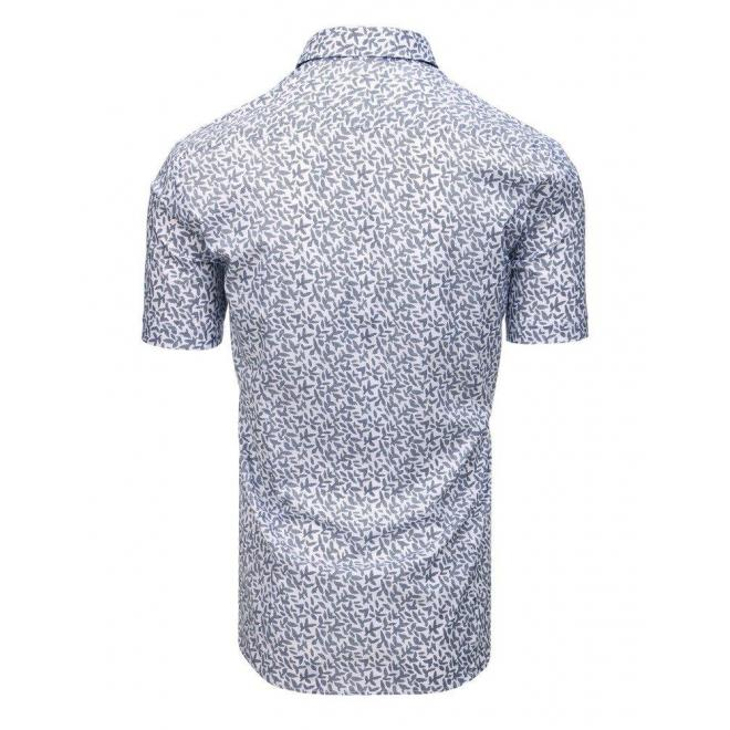 Biela vzorovaná košeľa s krátkym rukávom pre pánov
