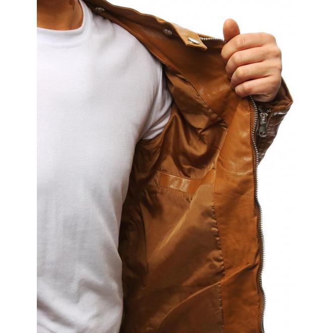 Koženková pánska bunda čiernej farby s prešívanými prvkami
