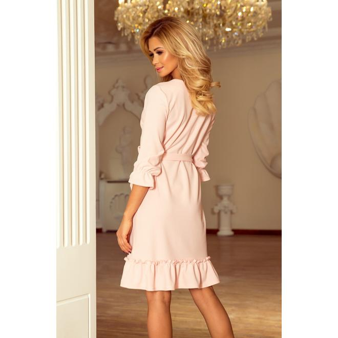 Elegantné dámske šaty svetlofialovej farby s asymetrickým volánom