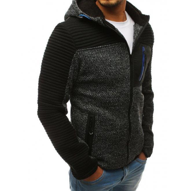 Módna pánska mikina čiernej farby s kapucňou