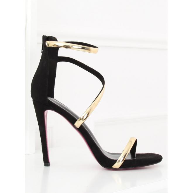 Semišové dámske sandále ružovej farby na farebnom podpätku