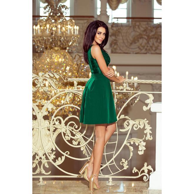 Tmavomodré elegantné šaty s čipkovaným výstrihom pre dámy