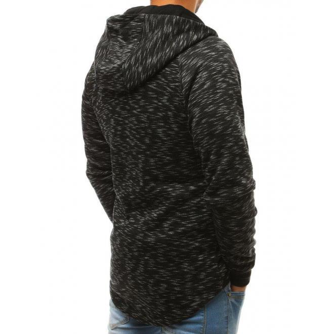 Čierna módna mikina s kapucňou pre pánov