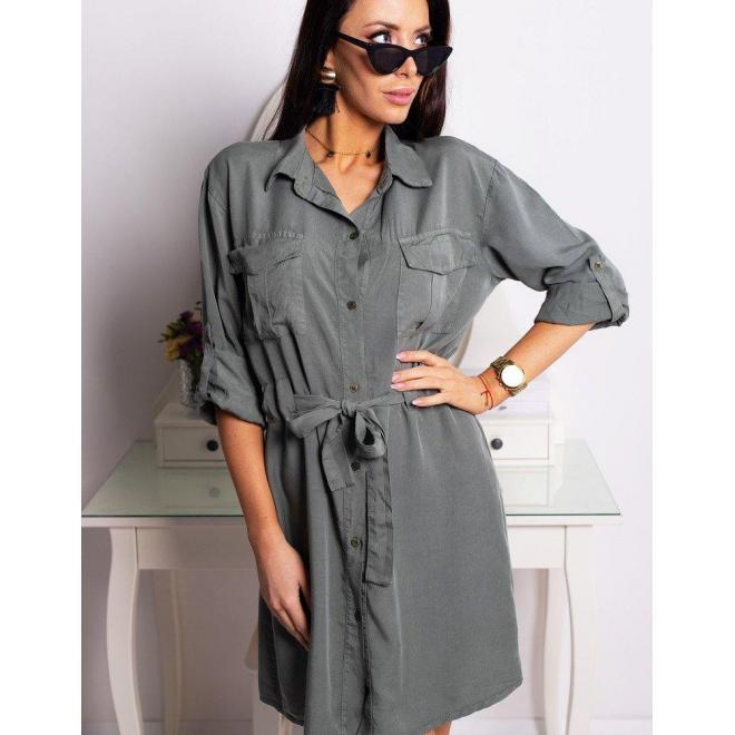 Košeľové dámske šaty hnedej farby s viazaním v páse