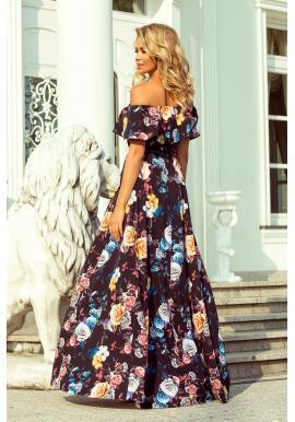 Dámske dlhé šaty s farebnou kvetovanou potlačou