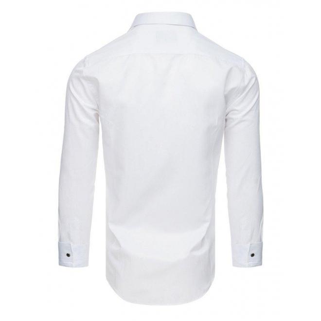 Smokingová pánska košeľa bielej farby s plisovaním