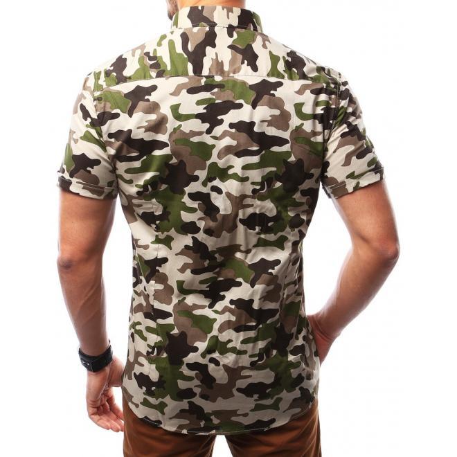 Maskáčová pánska košeľa béžovo-zelenej farby s krátkym rukávom