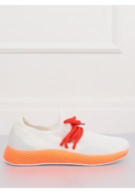 Štýlové dámske tenisky bielej farby s oranžovými prvkami