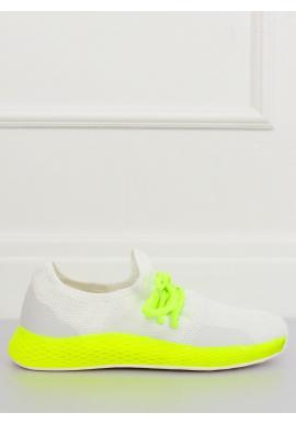 Dámske štýlové tenisky so žltými prvkami v bielej farbe