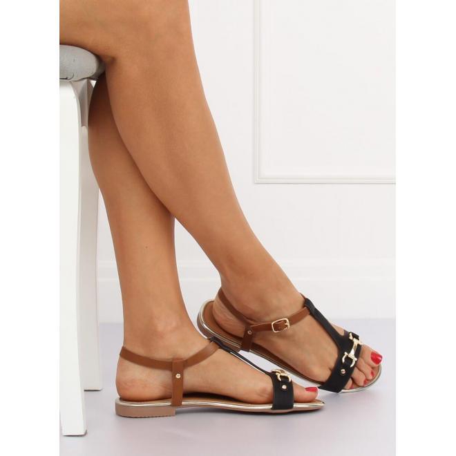 Dámske elegantné sandále so zlatými prvkami v čiernej farbe