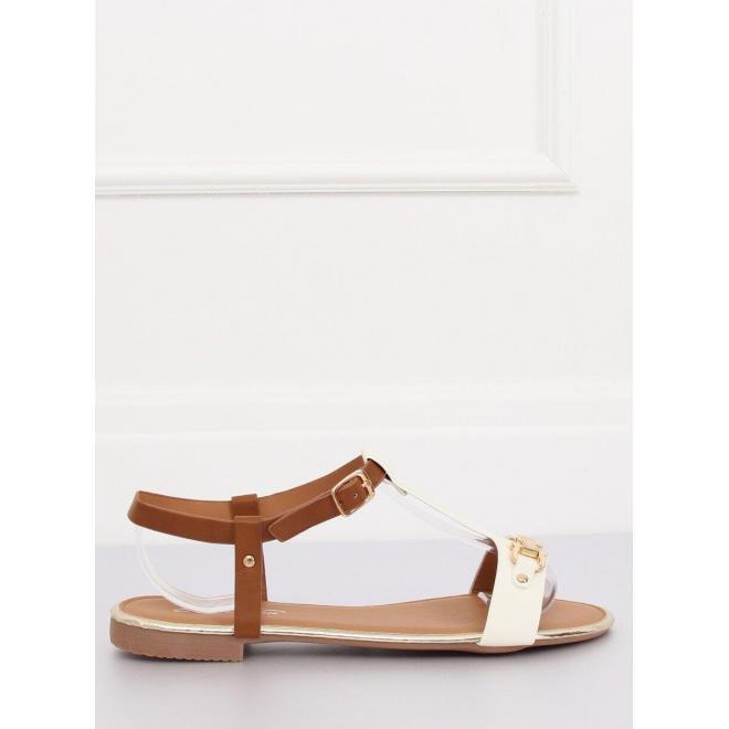 Biele elegantné sandále so zlatými prvkami pre dámy