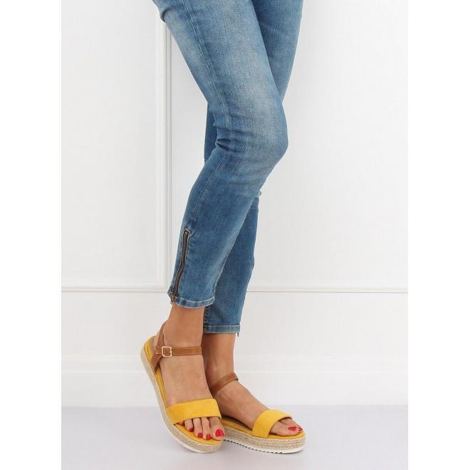 Módne dámske sandále žltej farby na pletenej podrážke