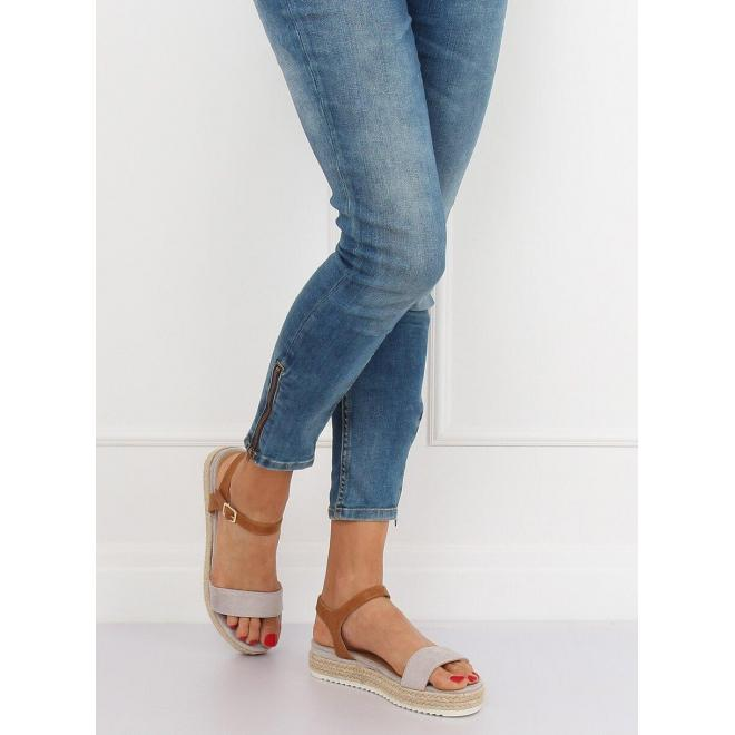 Sivé módne sandále na pletenej podrážke pre dámy