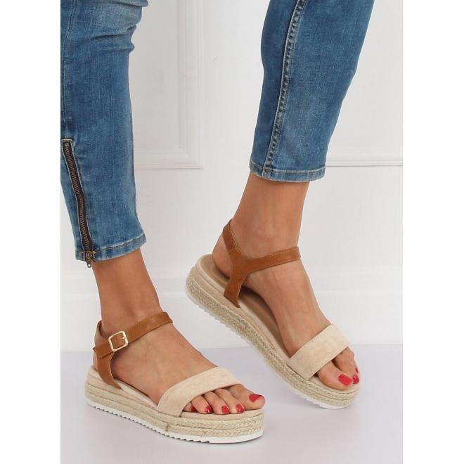 Módne dámske sandále béžovej farby na pletenej podrážke