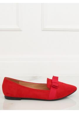 Dámske semišové balerínky s mašľou v červenej farbe