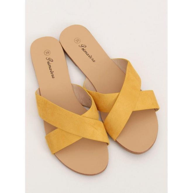 Dámske semišové šľapky v žltej farbe
