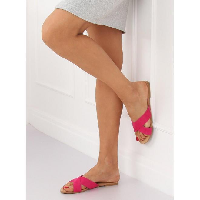 Semišové dámske šľapky ružovej farby