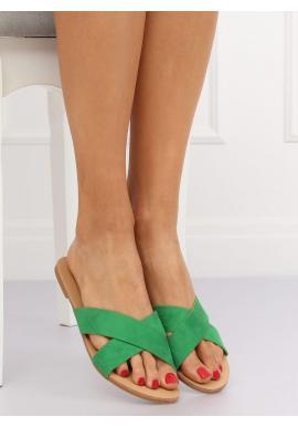 Zelené semišové šľapky pre dámy