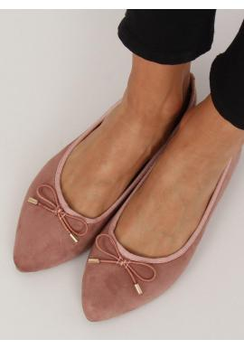 Semišové dámske balerínky ružovej farby s mašľou