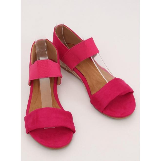 Ružové semišové sandále s jemným vyvýšením pre dámy