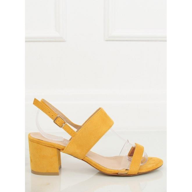 Dámske semišové sandále na stabilnom opätku v žltej farbe