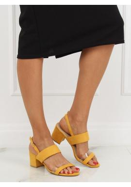 171da509e ... Dámske semišové sandále na stabilnom opätku v žltej farbe