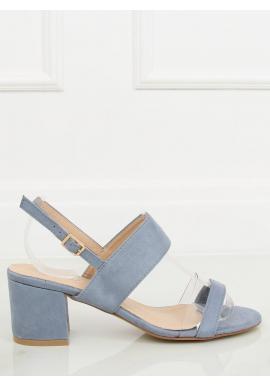 9d6e181790944 Modré semišové sandále na stabilnom opätku pre dámy ...