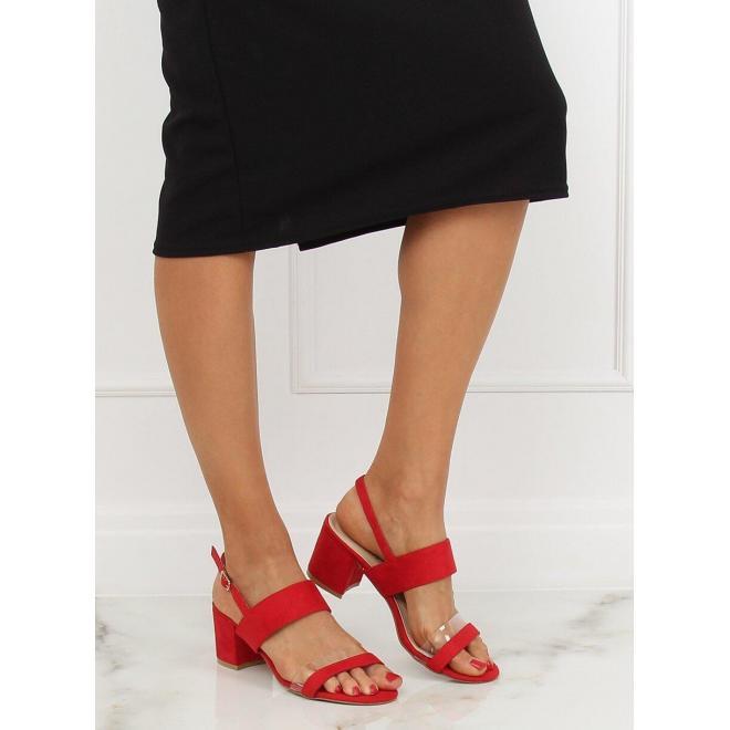 3ca679685 Dámske semišové sandále na stabilnom opätku v červenej farbe ...