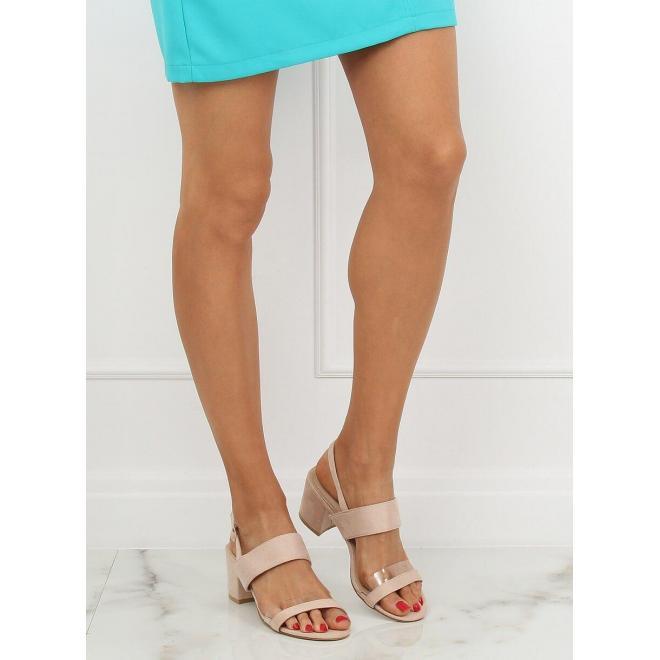 Semišové dámske sandále béžovej farby na stabilnom opätku
