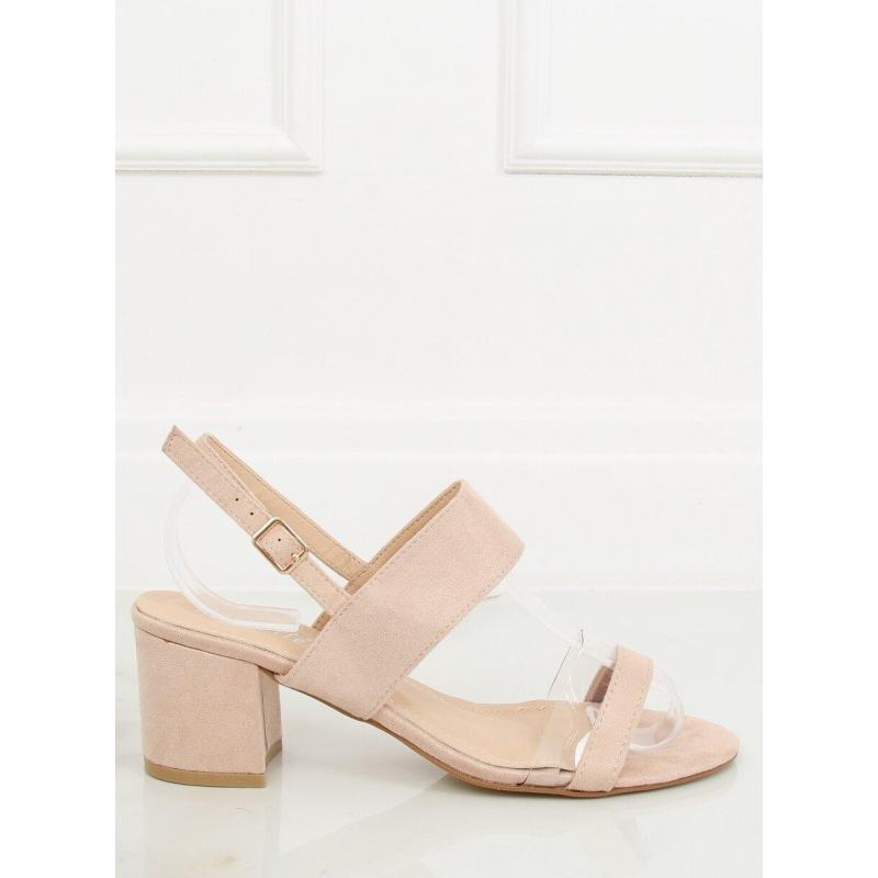 febbb312c Semišové dámske sandále béžovej farby na stabilnom opätku ...