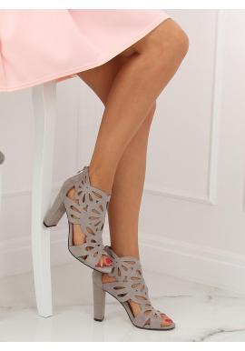 Ažúrové dámske topánky sivej farby na stabilnom podpätku