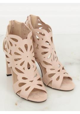 Dámske ažúrové topánky na stabilnom podpätku v béžovej farbe