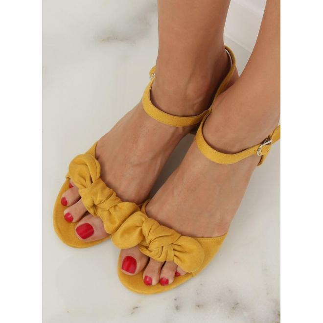 dc21eada1 Dámske semišové sandále na stabilnom opätku v žltej farbe ...