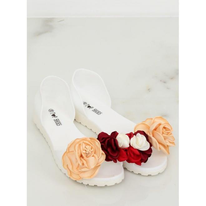 Biele gumené balerínky s kvetmi pre dámy