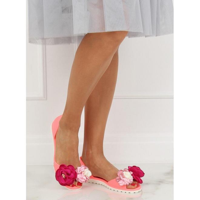 Dámske gumené balerínky s kvetmi v ružovej farbe