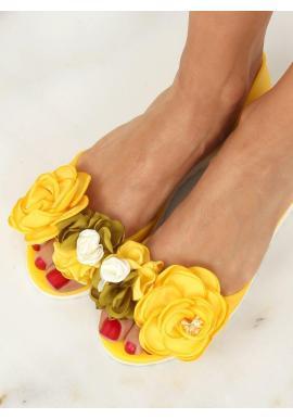 Žlté gumené balerínky s kvetmi pre dámy