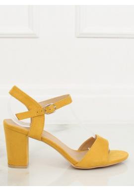 9de550c036 Semišové dámske sandále žltej farby na podpätku ...