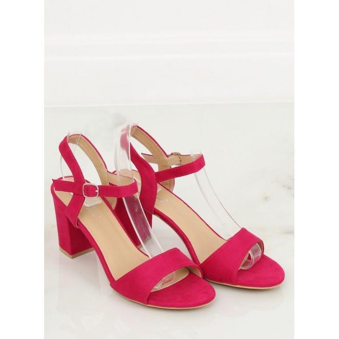 Ružové semišové sandále na podpätku pre dámy