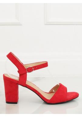 97d647d968 Dámske semišové sandále na podpätku v červenej farbe ...