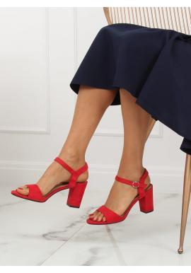 f436dff937 ... Dámske semišové sandále na podpätku v červenej farbe