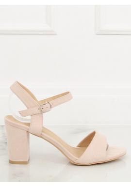 0753458e2d Semišové dámske sandále béžovej farby na podpätku ...