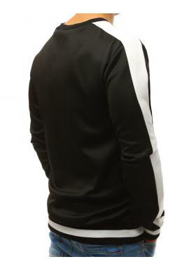 Čierna módna mikina s kontrastnými pásmi na rukávoch pre pánov