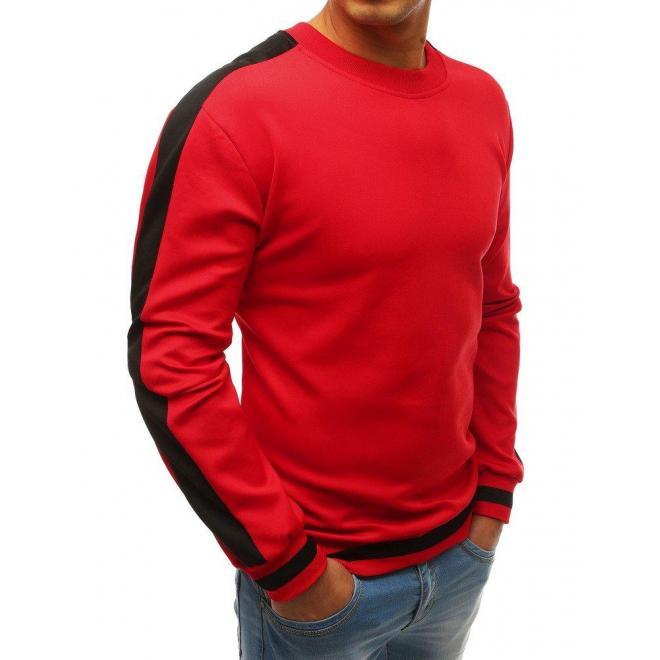 Módna pánska mikina červenej farby s kontrastnými pásmi na rukávoch